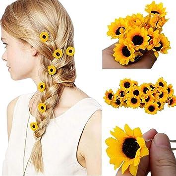 b9e838bc0c58a Amazon.com: HeiHy 10 Pcs Yellow Hawaii Sunflower Hair Clips U Shape ...
