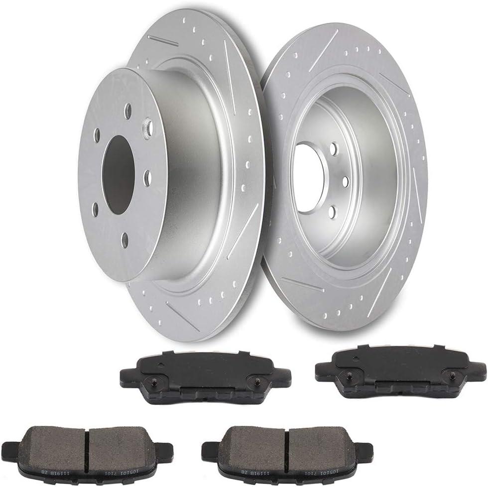 For 2007-2012 Nissan Altima Front Rear eLine Black Slotted Brake Rotors