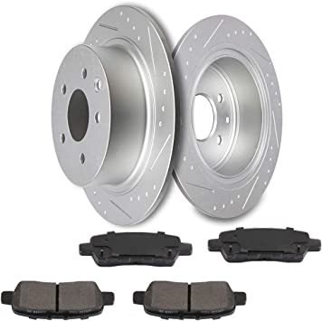 Front Discs Brake Rotors and Ceramic Pads Kit Fits 2007 2008 Maxima Drilled Slot