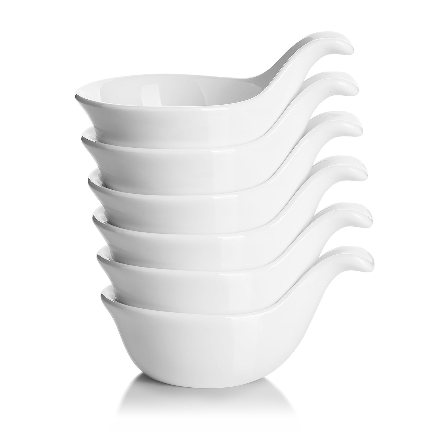 DOWAN Dip Bowl Set, Soy Sauce Dish with Handle, Small Bowls for Side Dish, 3 Oz Deep for Condiment, Ketchup, Appetizer, Ramekin, Individual Server Bowl for Party Dinner BBQ, White