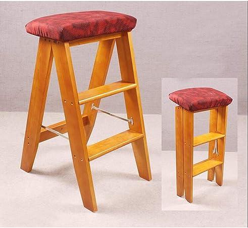 SMBYLL Escalera Taburete de madera maciza Escalera plegable de tres niveles Silla de cocina Escalera portátil Escalera de madera pequeña Silla de bar Se puede contratar Escalera de la palabra Silla de:
