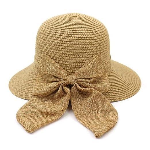 KFEK Arco Sombrero de Paja Sombrero de Sol Femenino Sombrero de ...