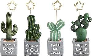 ISKYBOB 4 Pieces Artificial Plants Bonsai Card Clips Resin Cactus Photo Memo Place Number Holder Stand Desktop Decor