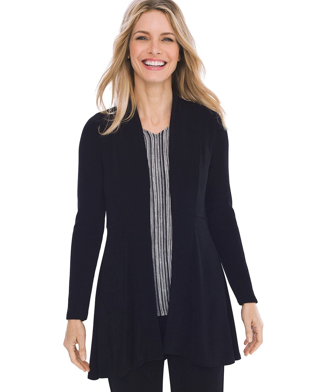 Chico's Women's Travelers Classic High-Low Jacket Size 12/14 L (2) Black