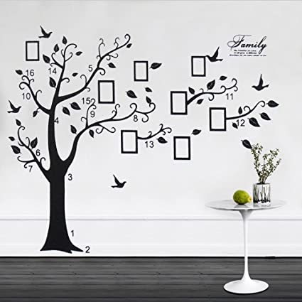 Family Tree Birds Photo Frame Quotes Tree Wall Stickers Wall Decals Wall Art