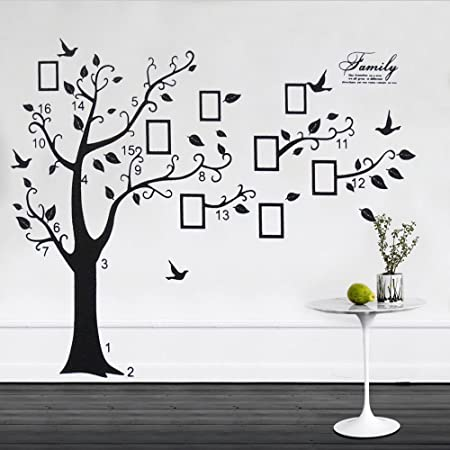 Reelva X Large Family Tree Birds Photo Frame Quotes Wall Stickers ...