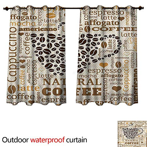 - cobeDecor Modern Outdoor Ultraviolet Protective Curtains Latte Affogato Coffee W63 x L63(160cm x 160cm)