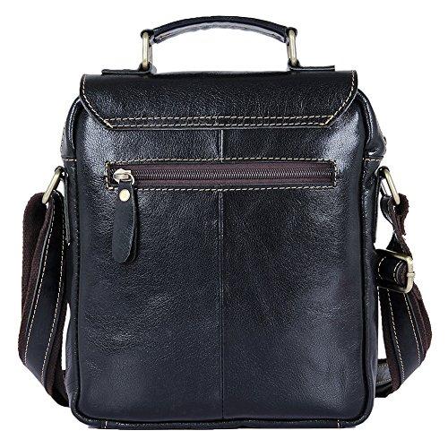 Genda 2Archer Bolso de Cuero Genuino Bolsa de Mensajero de la Solapa Bolso del iPad (21.5cm * 5cm * 26cm) (Negro) Negro