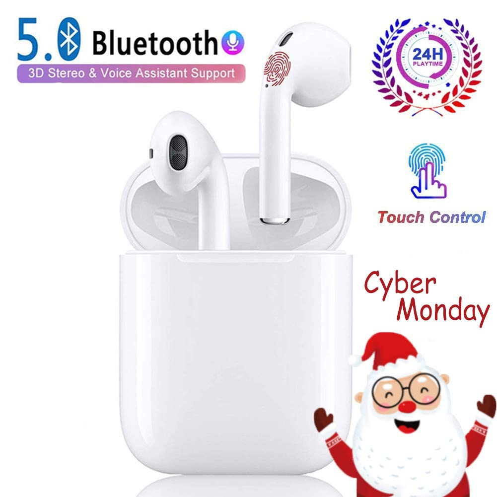 Wireless Earbuds Bluetooth Earbuds Bluetooth Headphones 24Hrs Charging Case 3D Stereo IPX5 Waterproof Pop-ups Auto Pairing Fast Charging for Earphone Samsung Apple Airpods Wireless Earbuds