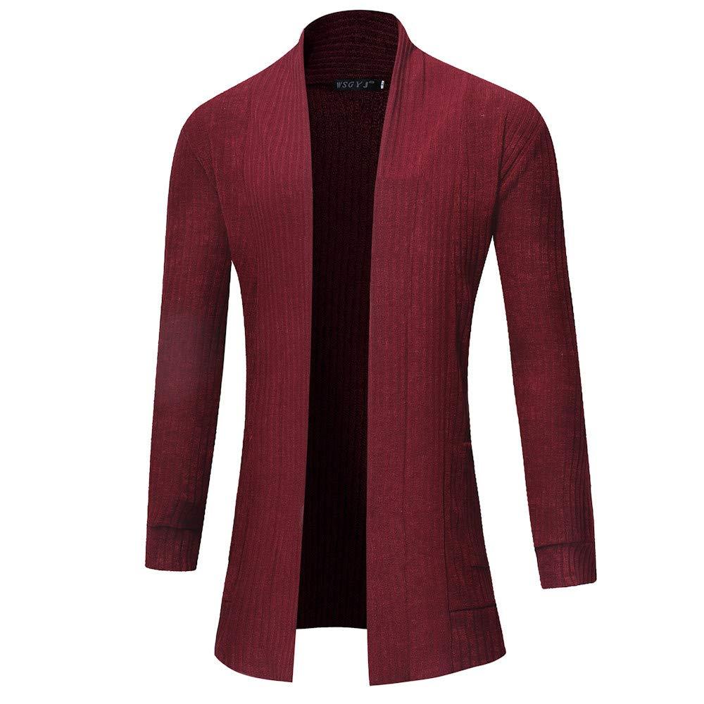 Big Men's Fashion Sweatshirts Solid Cardigan Sweater Casual Slim Fit Jacket Coat ANJUNIE