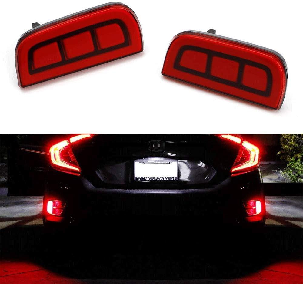L/&U JDM Style LED-Autoreflektorleuchten Kompatibel mit 16-up Honda Civic Limousine//Coupe und Nebelschlussleuchten Brems Funktion als Schwanz