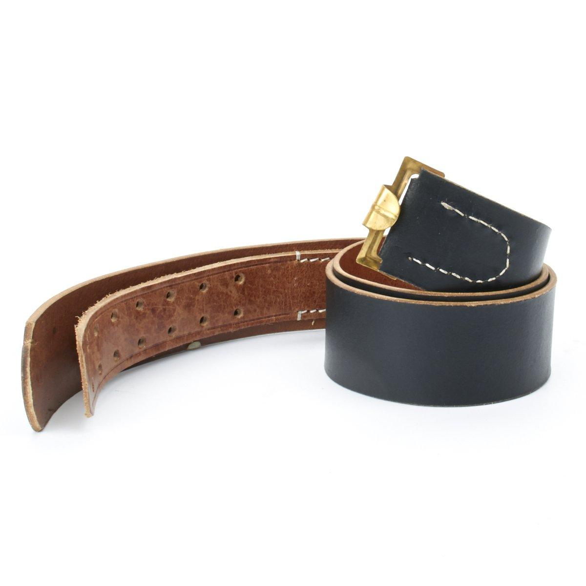 91-101cm German WWII Wehrmacht Black Leather Equipment Belt Size 36-40