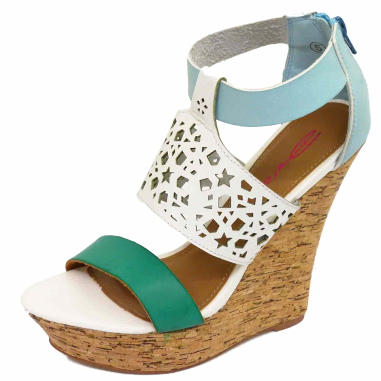 359a80a6485 Dolcis Ladies White Cork Wedges Platform Sandals Peep-Toe Strappy ...