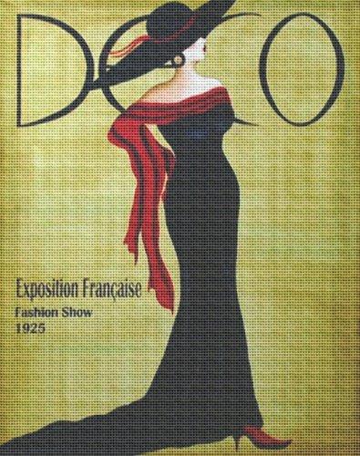 Art Needlepoint Art Deco Woman Needlepoint Canvas - Art Deco Needlepoint