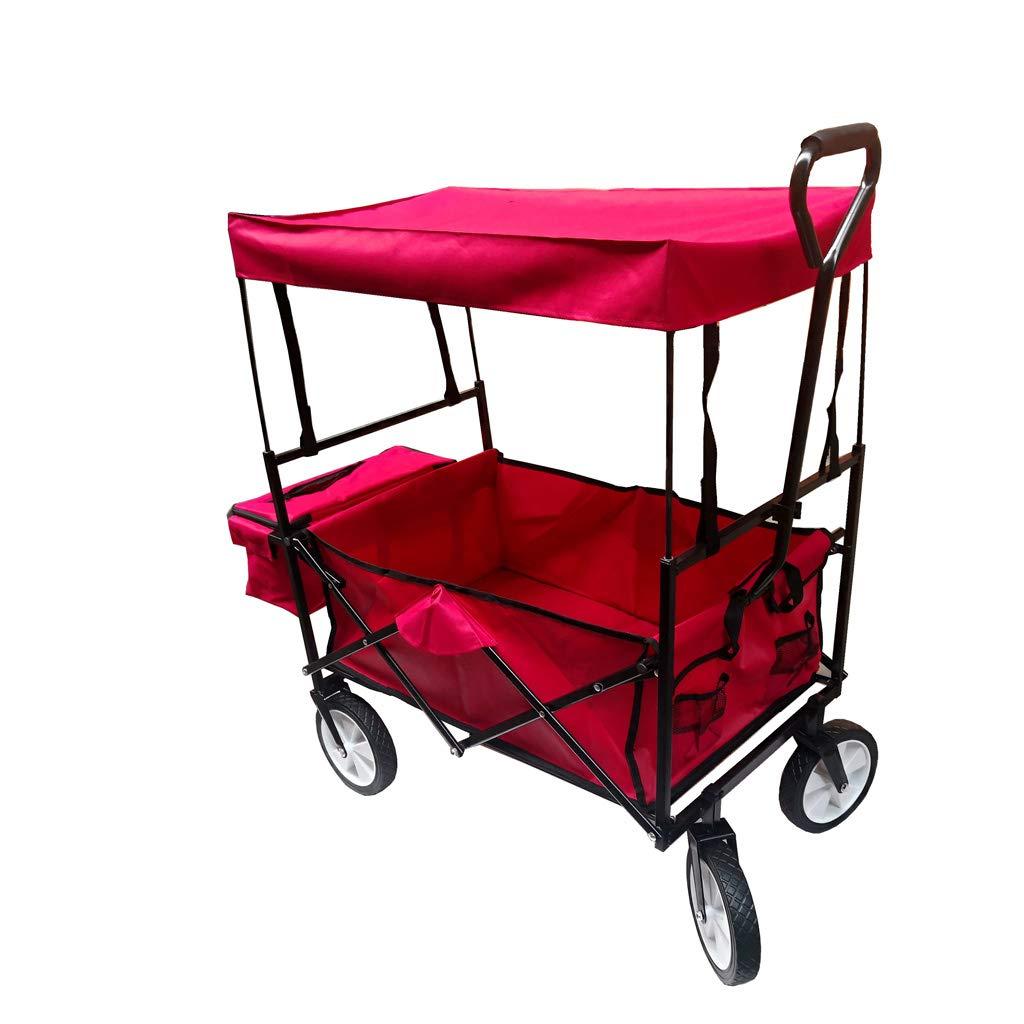 Rot mit Dach Bollerwagen Faltbar 360/° R/äder f/ür Ausfl/üge /& Festivals//Handwagen//Transportwagen//Strandwagen//Gartenwagen Klappbar Faltwagen
