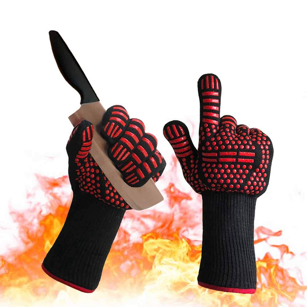 Yegion Heat Resistant Oven Mitts, Silicone Non-Slip BBQ Gloves, Food Grade Maximum Flexibility Cut Resistant Pot Holder for Grilling, Cutting, Baking and Welding, Black-and-Red