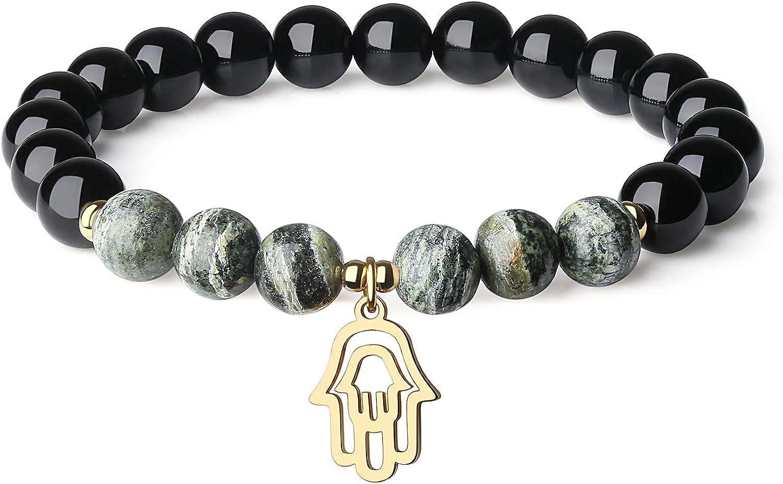 COAI Pulsera de Turmalina y Piedras Naturales con Amuleto Mano Hamsa