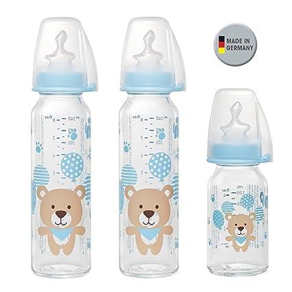 Nip Botella de cristal Boy//3 Set//Baby Botella de cristal/