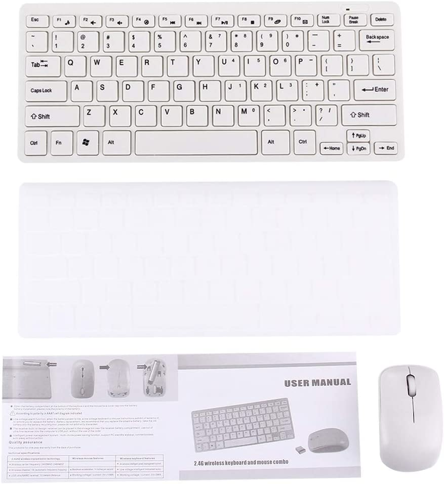 Teclado inalambrico JK-903 2.4GHz Wireless 78 Keys Mini Keyboard with Keyboard Cover Color : White Black Wireless Optical Mouse with Embedded USB Receiver for Computer PC Laptop
