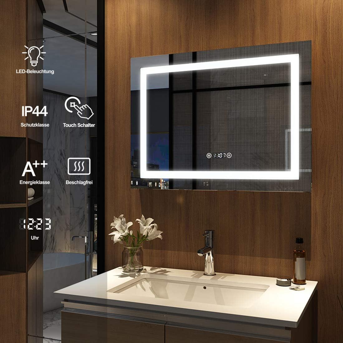 Meykoers Espejo de pared para cuarto de ba/ño con iluminaci/ón LED 80 x 60 cm interruptor t/áctil y sin niebla con reloj luz blanca fr/ía 6400 K