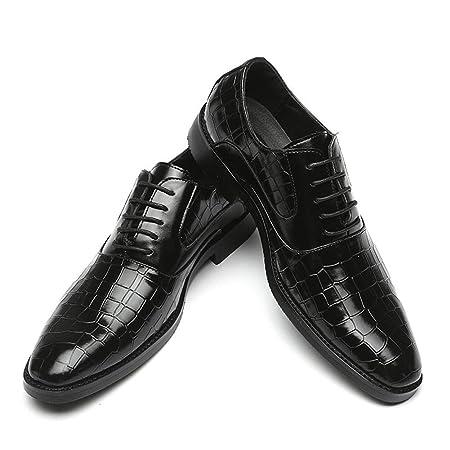 WEIIN De Punta Estrecha Hombres Zapatos Derby clásico patrón ...