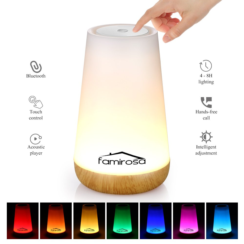 M MESUVIDA Night Light Bluetooth Speaker Touch Control Colorful LED Speaker Bedside Light USB Rechargeable Table Lamp for Children Home Bedroom Living Room by Famirosa