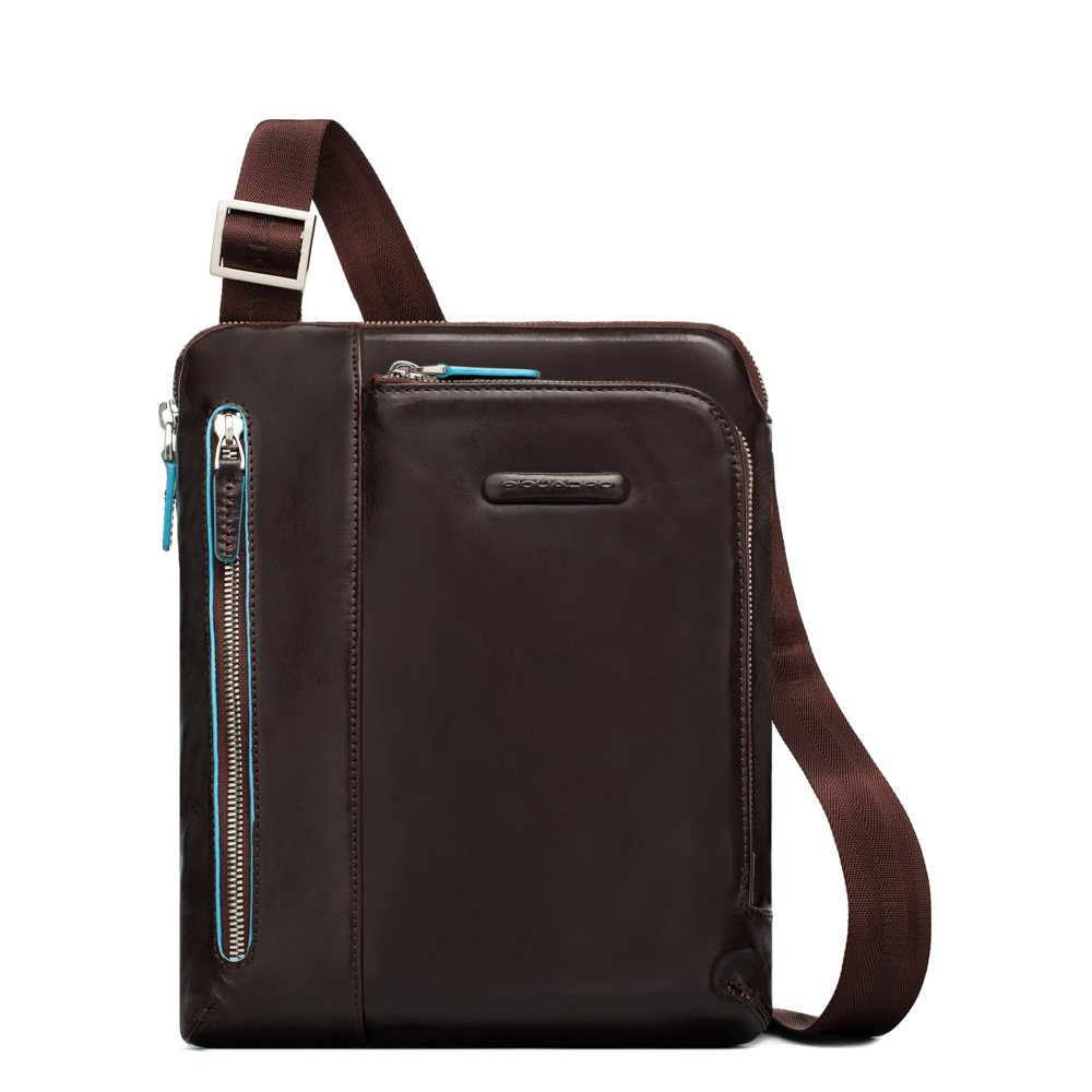Piquadro iPad Shoulder Pocket Bag with Pocket For MP3 Player, Mahogany, One Size