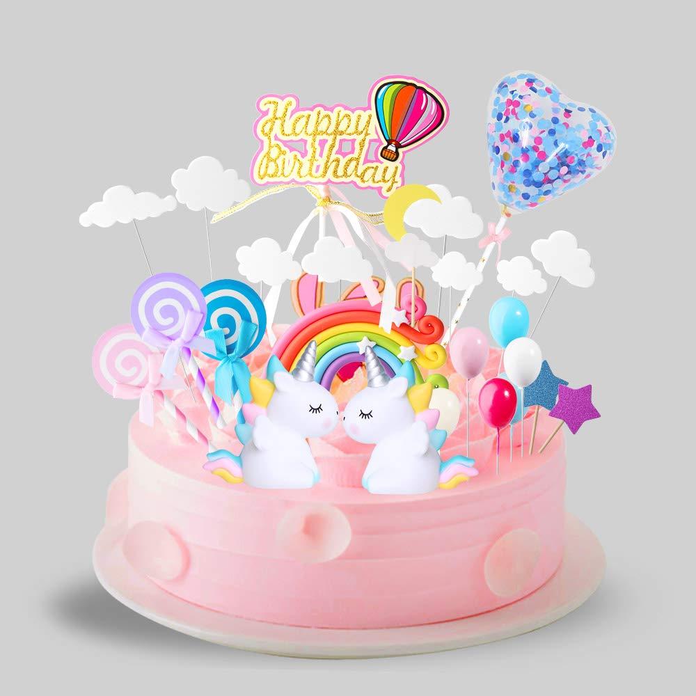 ONESING 29 Pcs Cake Topper Kit for Unicorn Happy Birthday Cake Picks Rainbow Balloon Birthday Decoration For Boy Girl Kid