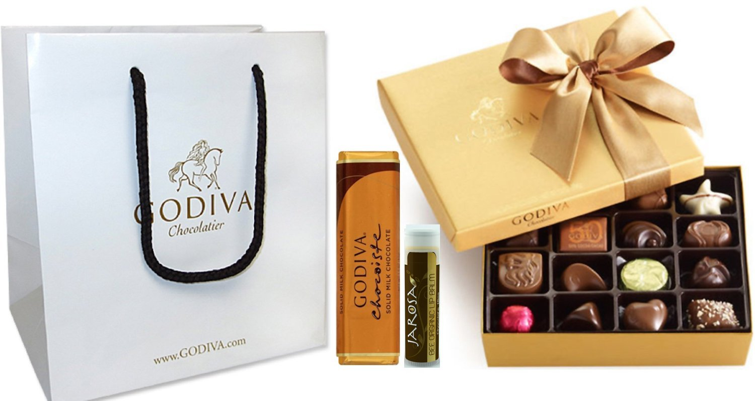 Godiva Chocolatier Gold Ballotin Classic Gold Ribbon, 19 Pieces with Solid Milk Chocolate Bar, Godiva Gift Bag and a Jarosa Bee Organic Chocolate Bliss Lip Balm by GODIVA Chocolatier