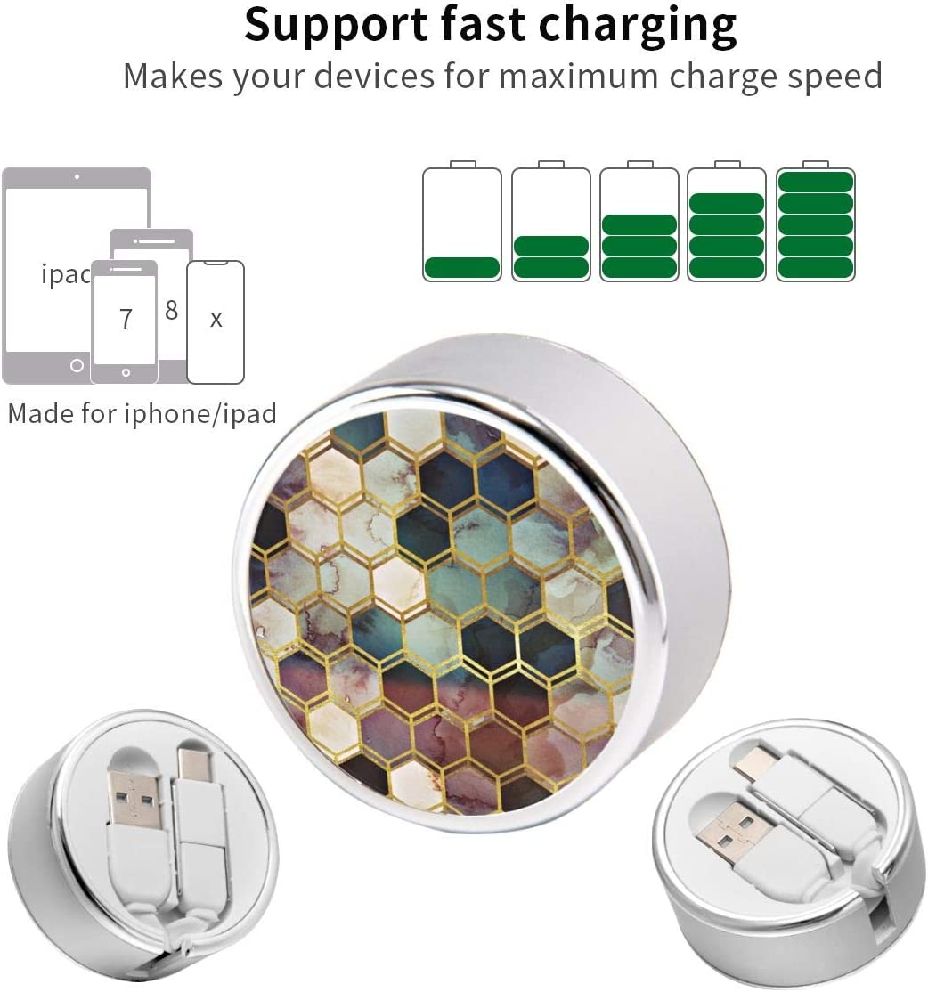 Multi Quick USB Charging Cable,Rugged Marble 2 in1 Fast Charger Cord Connector High Speed Durable Charging Cord Compatible with iPhone//Tablets//Samsung Galaxy//iPad and More