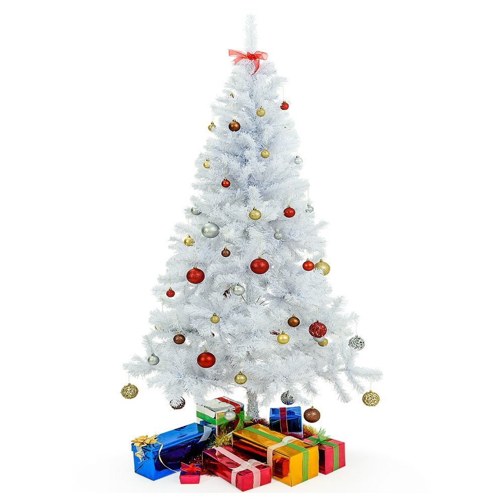 Deuba Albero di Natale Invernale Albero di Natale Artificiale Albero Ecologico - 150 cm - 310 Punte con Base - Bianco