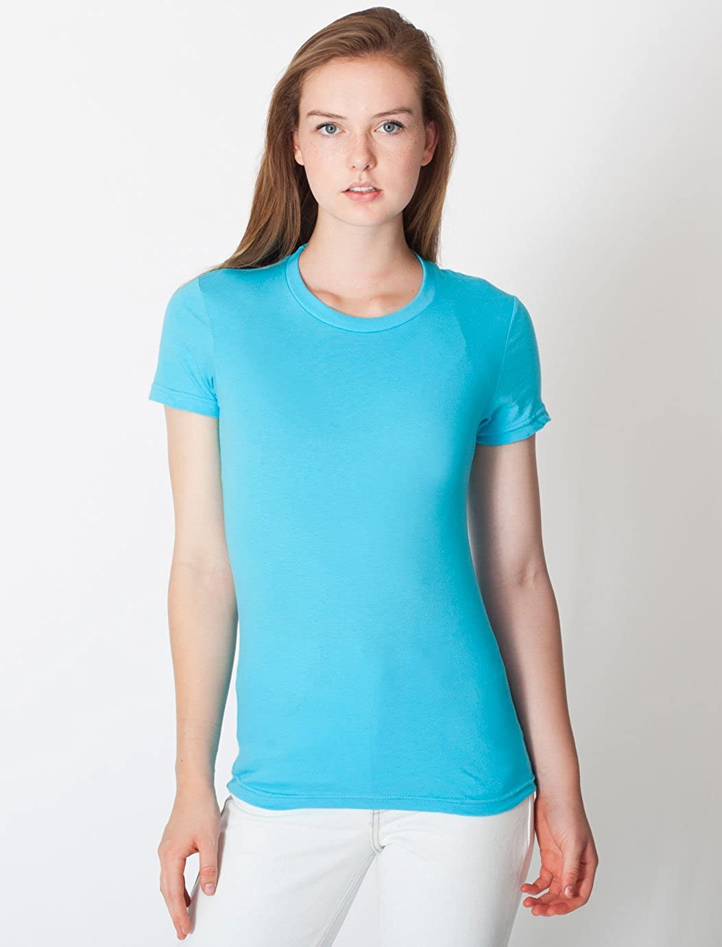 WS American Apparel Women Fine Jersey à encolure ras-du-cou à manches courtes Double Stitch T-Shirt