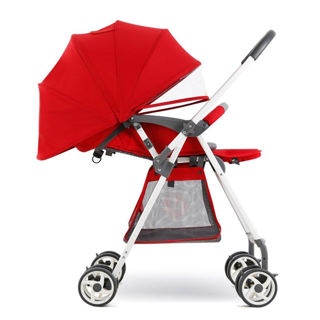 HAIZHEN マウンテンバイク 赤ちゃんカートブルー赤いスチールフレーム軽量Foldableは、横たわることができる/座っているポータブルトロリー二方向プッシュロッド幼児用カート調節可能な日除け天気予報日保護アンチUVベビーキャリッジ67.4 * 48.5 * 131センチメートル 新生児 B07DSBCRBY赤