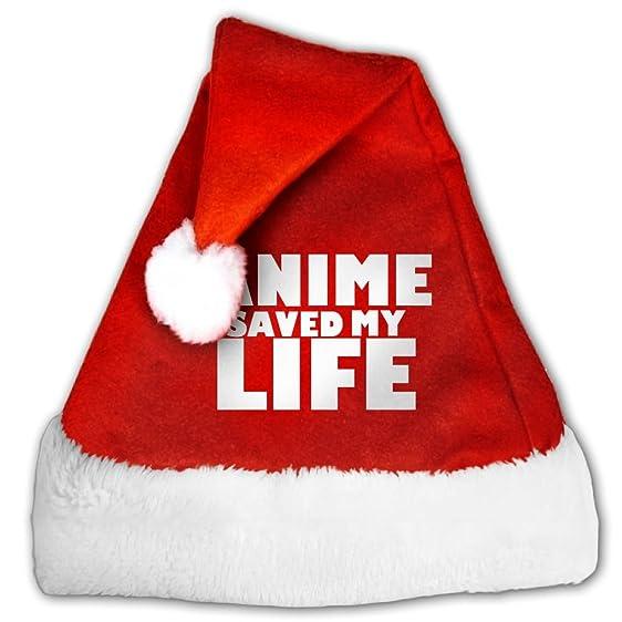 Amazon.com: FunnyLaury Anime Is Life Santa Hat Velvet Christmas Hat ...