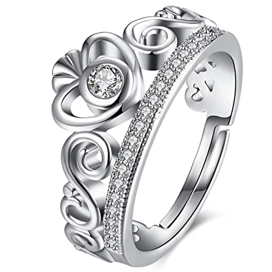 Amazon Com Womens Best Friend Rings 18k White Gold Plated Infinity