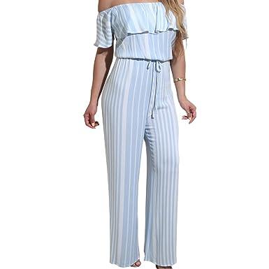 7eab6778b3f1 Slim Bloom Women s Sexy Striped Ruffle Wide Leg Pants Elastic Waist  Clubwear Jumpsuit Rompers Blue S