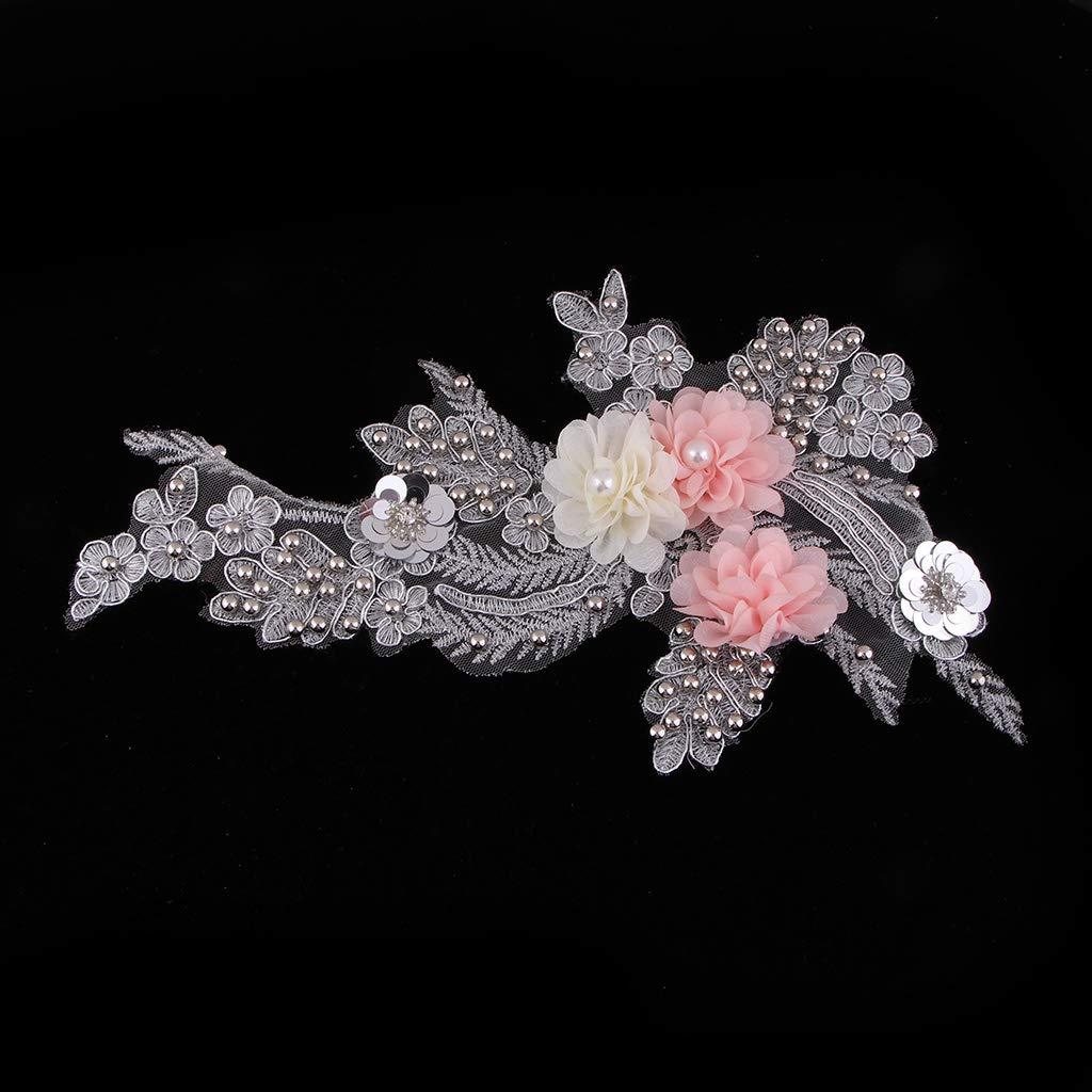 Blume Perlen Spitzenkragen Spitzenbesatz Spitzeneinsatz Besatz Kragen Spitzenapplikation zum Aufn/ähen auf Kleidung