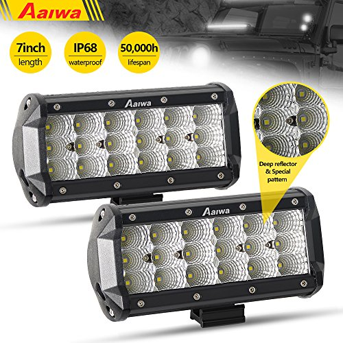 Vision Boat - AAIWA LED Light Bar 7Inch 12V Flood LED Pods LED Work Light Fog Lights Off Road Lights 54W Triple Row Flood Beam Super Bright for Jeep SUV Truck Cabin Boat Car ATVs,5 Years Warranty