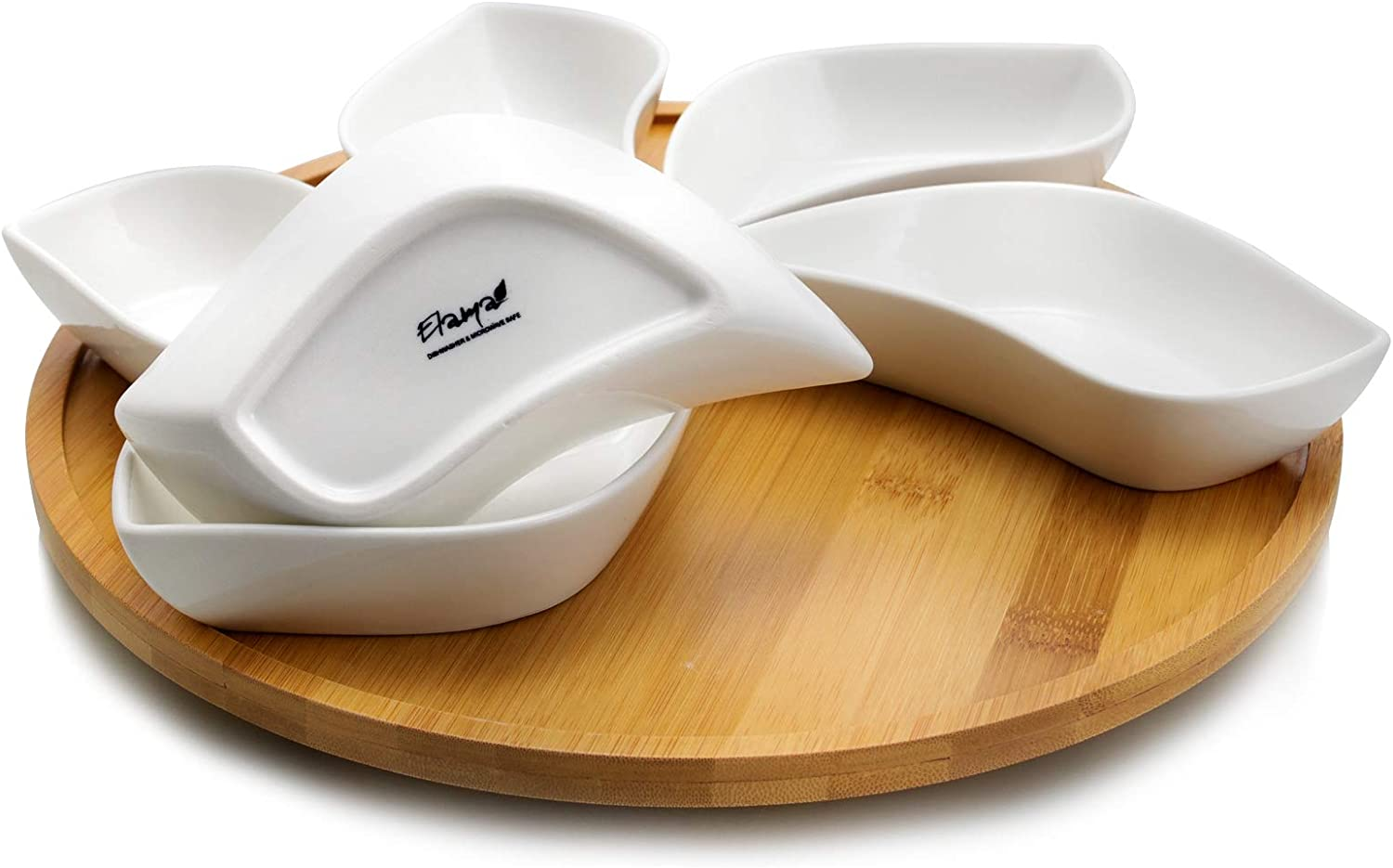 Amazon Com Elama Signature 7 Piece Modern Lazy Susan Appetizer And Condiment Server Set With 6 Unique Design Serving Dishes And A Bamboo Lazy Suzan Serving Tray 13 5 L Serveware
