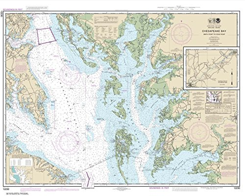Paradise Cay Publications NOAA Chart 12230: Chesapeake Bay Smith Point to Cove Point 33.6 x 42 (TRADITIONAL PAPER)