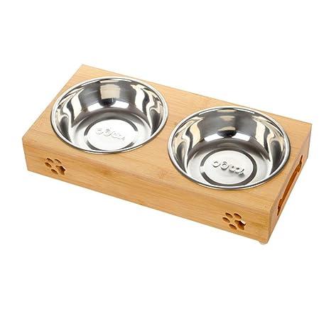 Comederos de Perros Gatos, de Acero Inoxidable Durable y Soporte de Bambú, Cuenco de