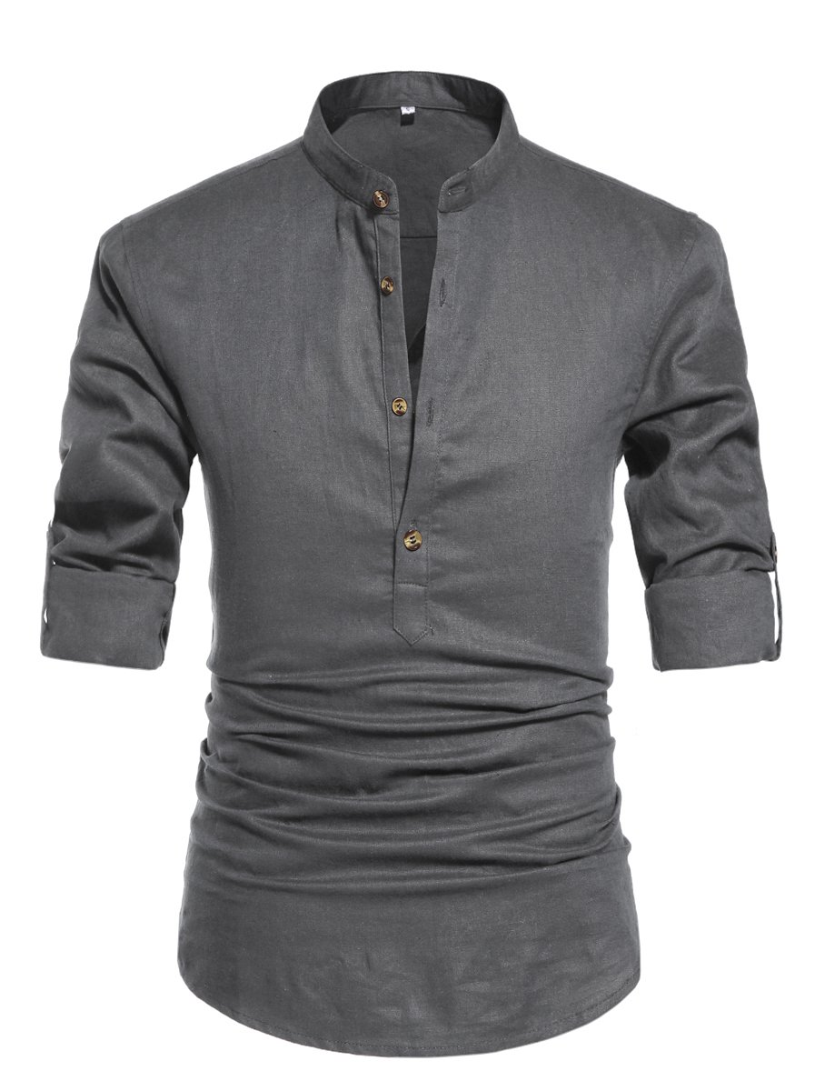 ZYFMAILY Men's Long Sleeve Henley T-Shirts Linen Casual Shirts Dark Gray-US L