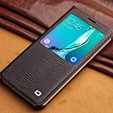 S6 Edge+ Case, Slim Flip Genuine Leather Case by QIALINO, with Smart View Winodw and Sleep Wake Function for 5.7