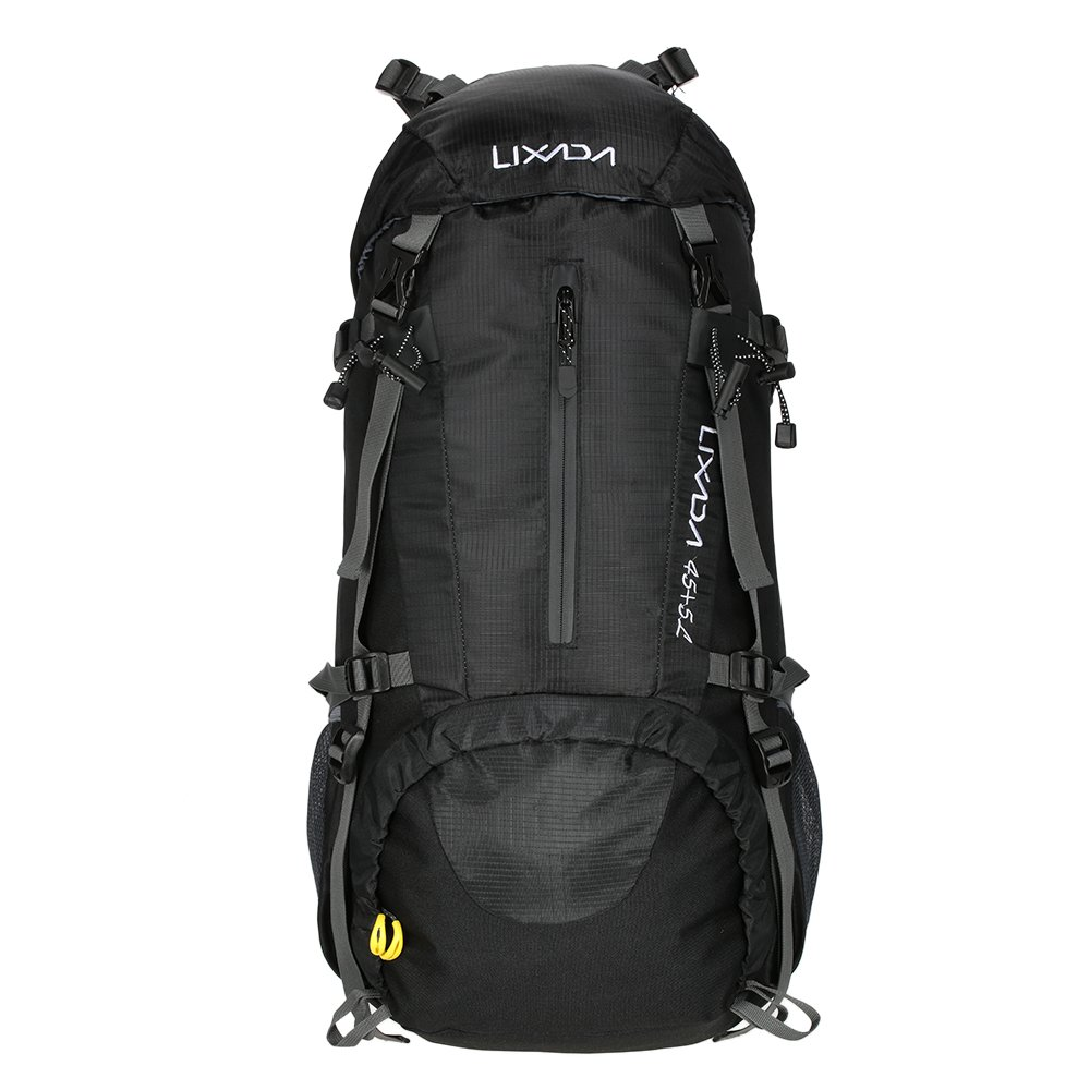 5444138f705d Amazon.com   Lixada 50L Hiking Backpack with Rain Cover Outdoor Water  Resistant Backpacking Daypack for Trekking Camping Travelling (Black)    Sports   ...