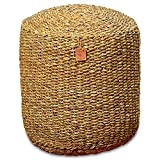 Whole House Worlds The Made by Nature Beach House Pouf, Woven Wicker Seagrass, Low Table, Footstool, or Ottoman, 15 ¾ x 15 ¾ x 18 Inches by