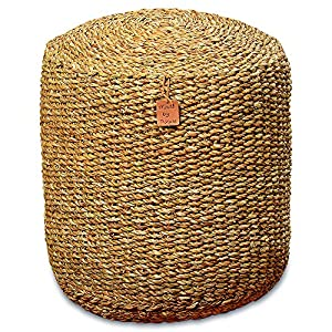 The Made By Nature Beach House Pouf, Woven Wicker Seagrass, Low Table,  Footstool, Or Ottoman, 15 ¾ X 15 ¾ X 18 Inches By Whole House Worlds