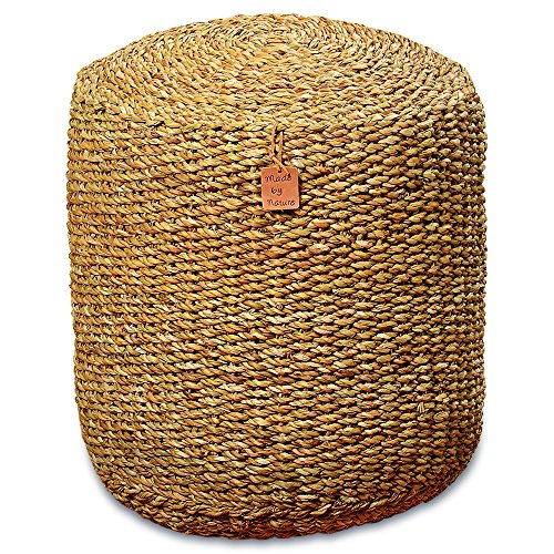 Whole House Worlds The Made by Nature Beach House Pouf, Woven Wicker Seagrass, Low Table, Footstool, or Ottoman, 15 ¾ x 15 ¾ x 18 Inches by by Whole House Worlds