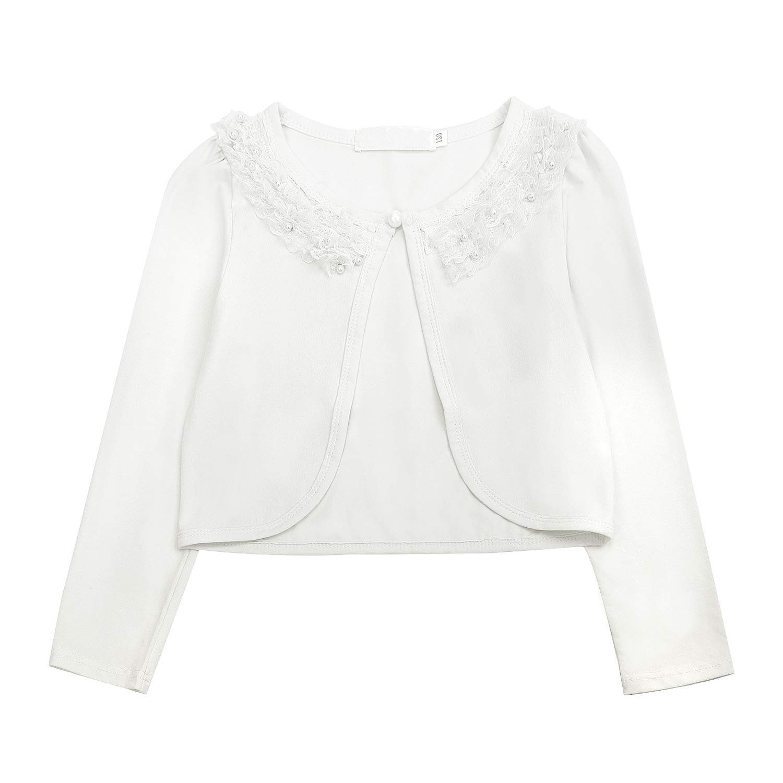 Acecharming girls Beaded Flower Bolero Jacket Shrug Short Cardigan Dress Cover Up,Cream White,8-10