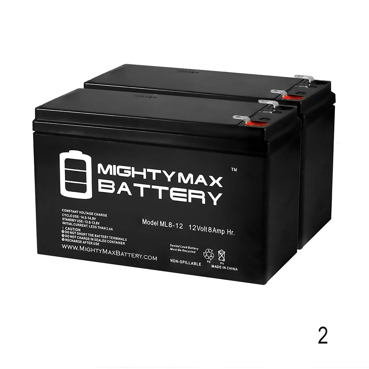 Mighty Max Battery 12V 8Ah Battery for Razor MX350, MX400 Electric Dirt Bike - 2 Pack Brand Product
