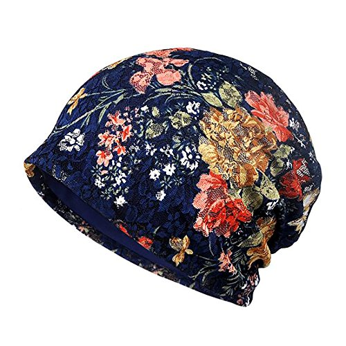 - Glamorstar Floral Lace Beanie Hat Chemo Cap Stretch Slouchy Turban Headwear Rose Sapphire